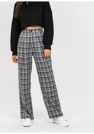 Wide leg check trousers in black