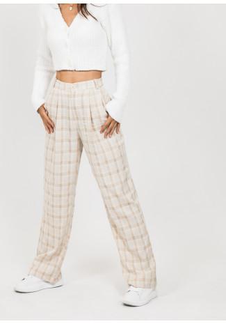 Wide leg check trousers in beige