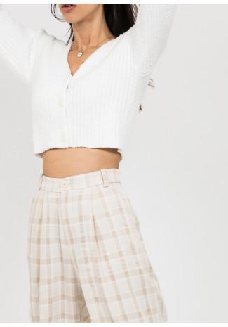 Pantalon large à carreaux beige