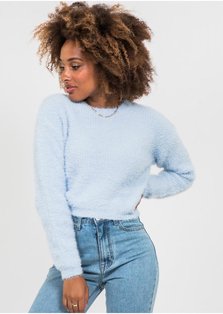 Fluffy round neck jumper in blue