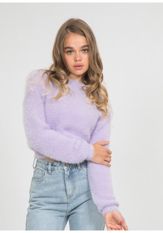 Fluffy round neck jumper in lilac