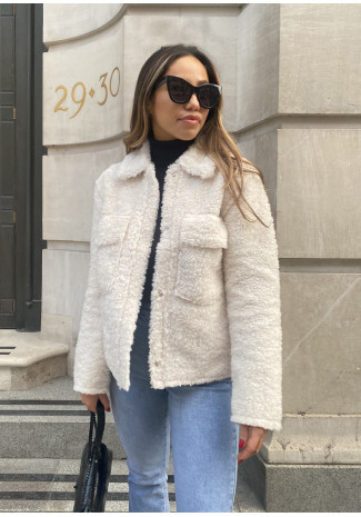 Teddy jacket in cream