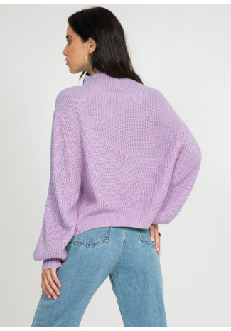 Oversize high neck jumper in lilac