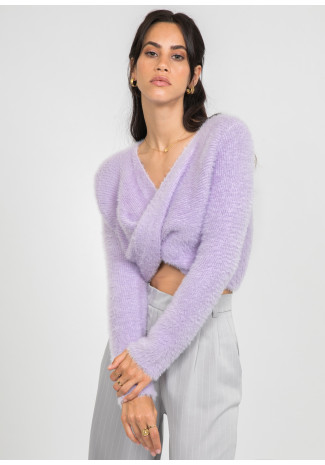 Fluffy drape front jumper in lilac