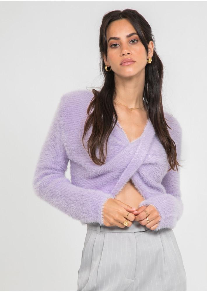 Pull duveteux drapé lilas