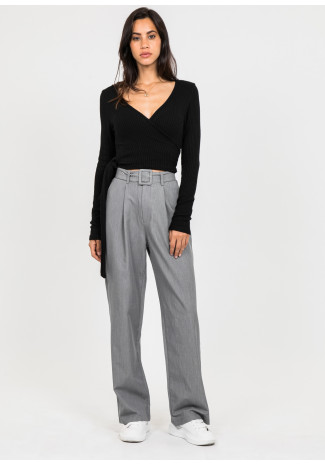 Belted wide leg trousers in grey