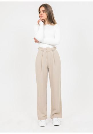 Belted wide leg trousers in beige