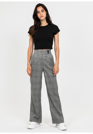 Pantalónes gris a cuadros con pernera ancha