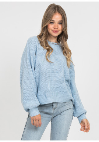 Oversize round neck jumper in blue