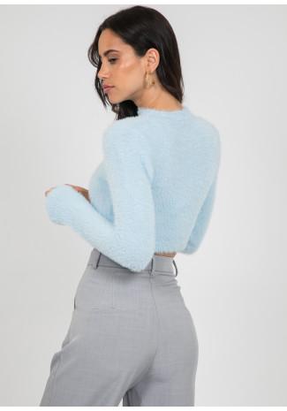 Fluffy high neck jumper in blue