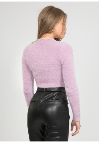 Pull duveteux col montant lilas