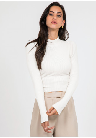Long sleeve top with knot back detail in white