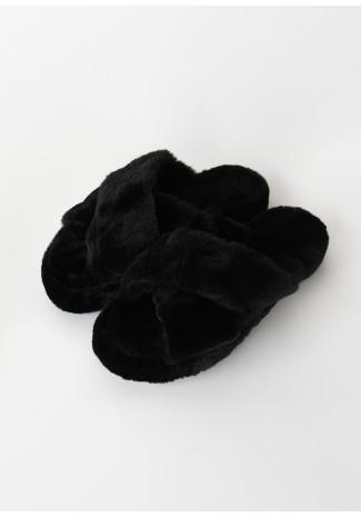 Chaussons croisés en fausse fourrure noir