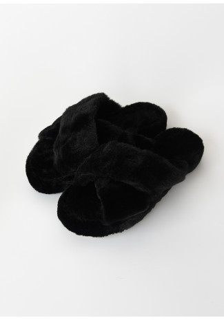 Fluffy faux fur cross strap slippers in black