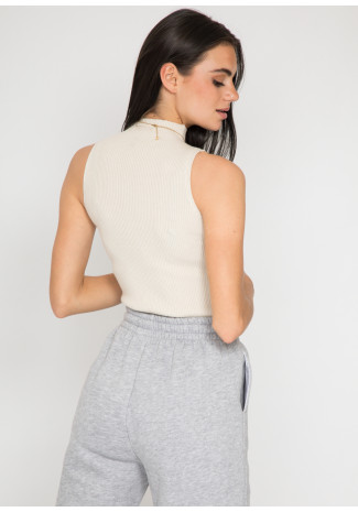 High neck ribbed top in beige