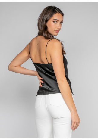 Cowl neck satin cami in black