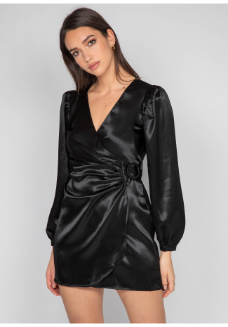 Satin wrap front dress in black
