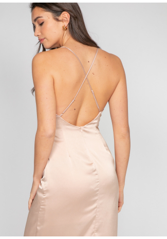 Satin cami dress with split in beige