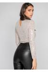 Highneck bodysuit in sequin