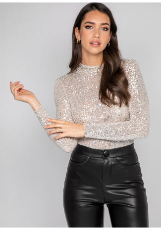 Highneck bodysuit in sequin
