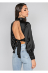 Satin backless high neck top in black
