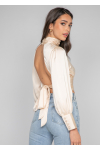 Satin backless high neck top in beige