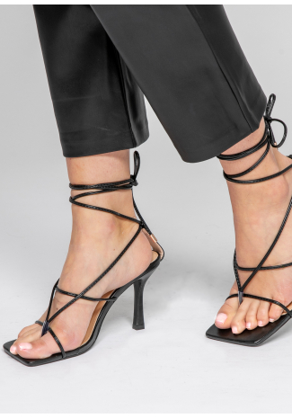Strappy tie leg heeled sandals