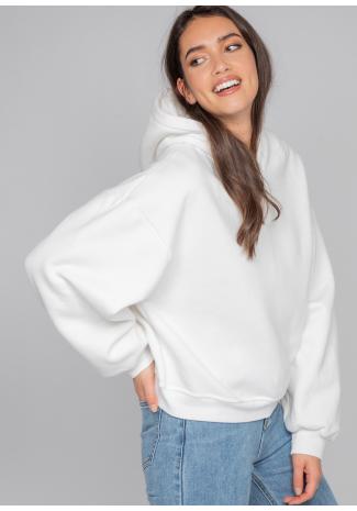 Sudadera con capucha oversize de algodón en blanco