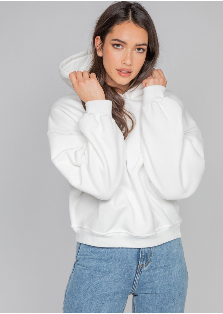 Oversize cotton hoodie in white