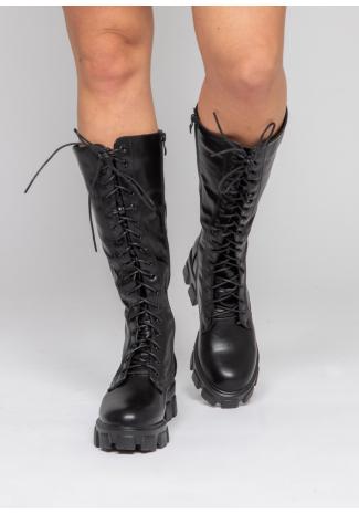 Botas altas negras de suela gruesa con cordones