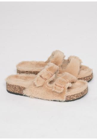 Flat faux fur buckle sandals