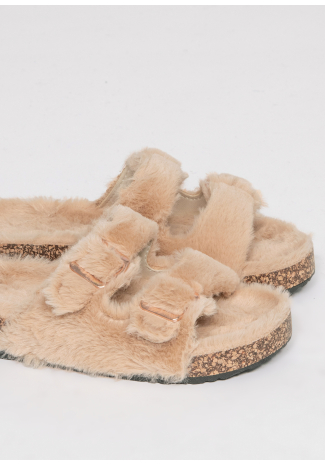 Flat faux fur buckle sandals