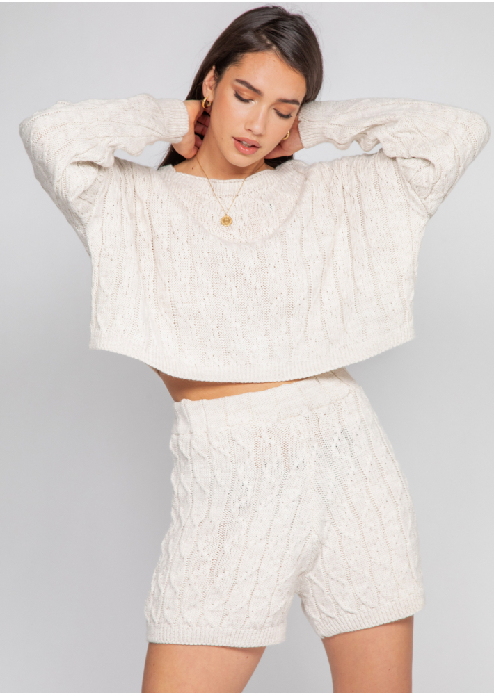 Cable knit jumper and shorts co-ord in beige