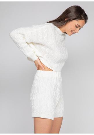 Ensemble pull et short en maille torsadée blanc
