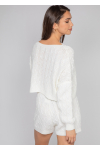 Cable knit jumper and shorts co-ord in white