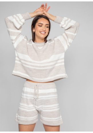Knitted jumper and shorts co-ord in beige and white