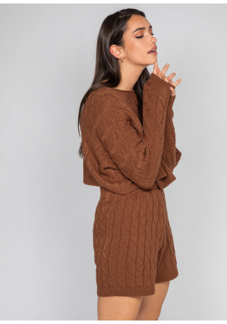 Cable knit jumper and shorts co-ord in brown