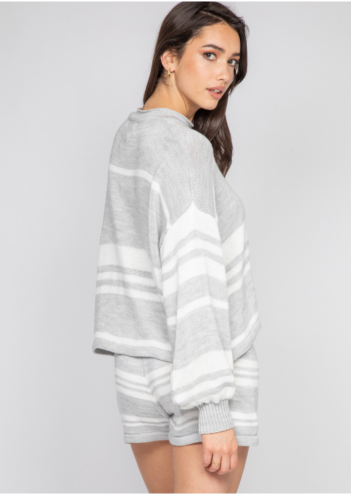 Knitted jumper and shorts co-ord in grey and white