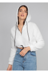 Borg hoodie with half zip in white