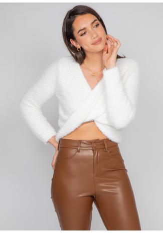 Pull duveteux drapé blanc
