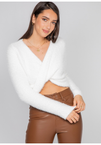 Fully drape front jumper in white