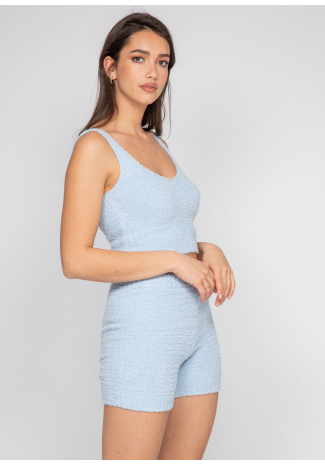 Ensemble confort short et top en maille duveteuse bleu