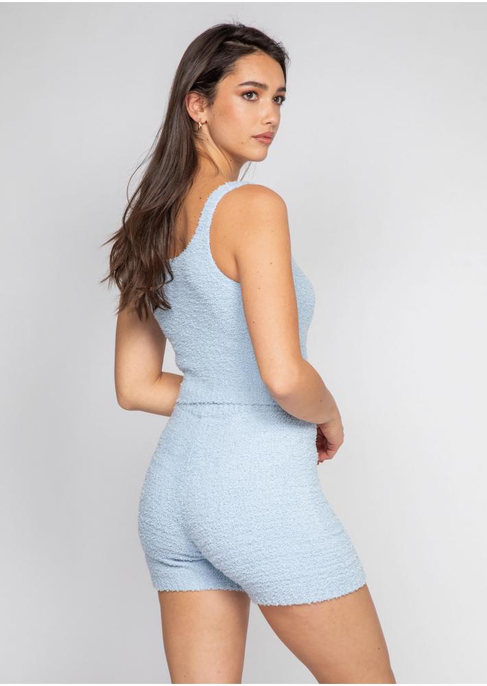 Ensemble confort short et top en maille duveteuse bleu
