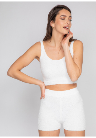 Ensemble confort short et top en maille duveteuse blanc