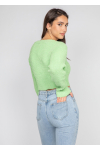Fluffy ribbed cardigan in green