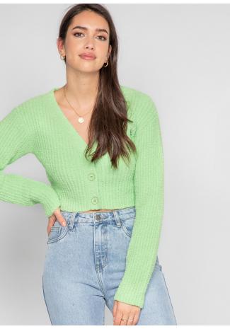 Cardigan côtelé pelucheux vert