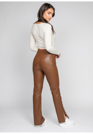 Faux leather trousers with side split in brown