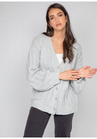 Cable knit cardigan in grey