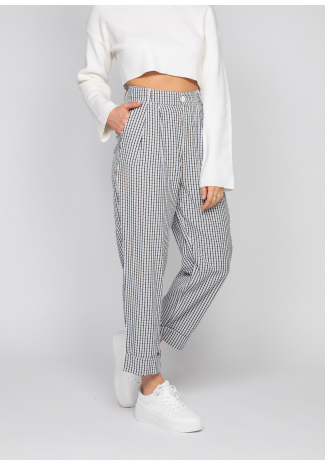 Check tapered trousers in black