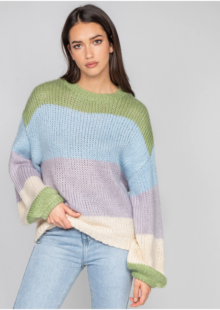 Chunky knitted colourblock jumper